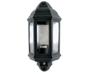 outdoor wall light 60w pir half lantern black finish