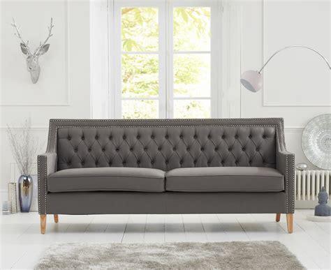 chesterfield casa bella grey fabric  seater sofa natural ash wood legs