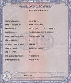 Virginia Birth Certificate