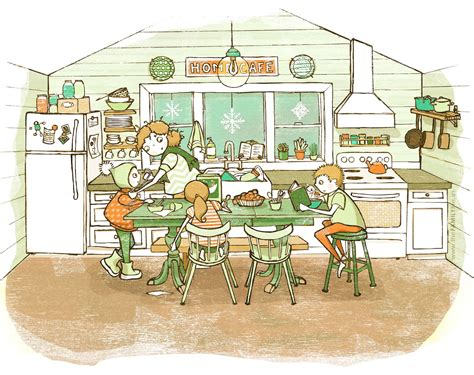 The Boy In The Girls Bathroom home cafe drawing mom kids boy family life kitchen