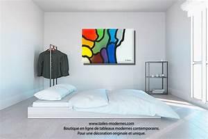 Tableau Deco Chambre : tableau violet bleu gris d coration originale design format panoramique une nouvelle vie ~ Teatrodelosmanantiales.com Idées de Décoration