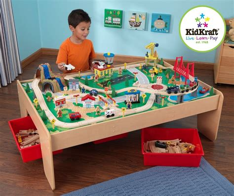train table set for 2 year old amazon com kidkraft waterfall mountain train set and