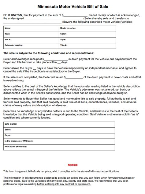 Boat Bill Of Sale With Witness by Free Minnesota Vehicle Bill Of Sale Form Pdf Word