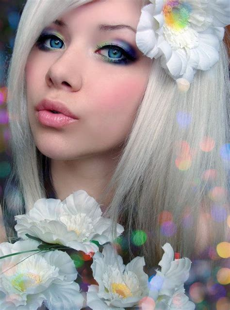 Girl With Flowers White Hair And Beautiful Blue Eyes