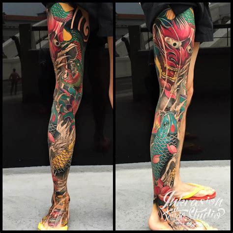 japanese hannya koi full leg tattoo inkvasion tattoo