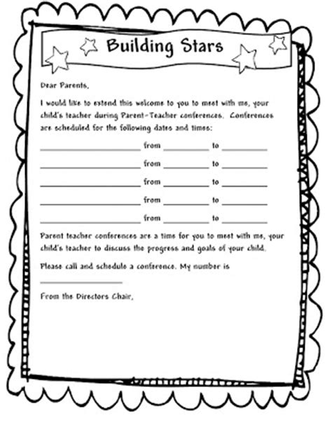 learning and teaching with preschoolers parent 750 | parent conf letter