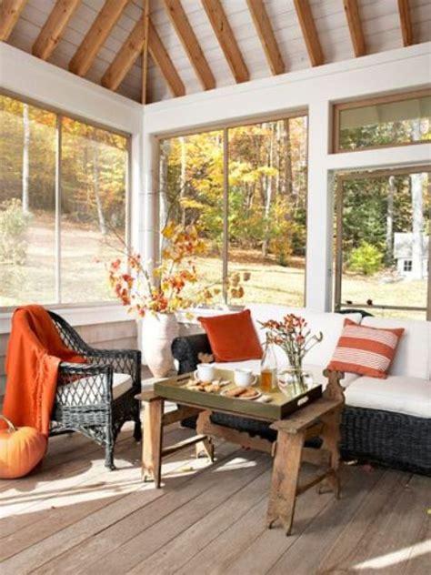 fall living room decor cozy decorating porch inviting patio decorate designs colors accessories orange autumn feel thanksgiving pillows season screened