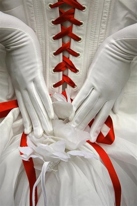 red wedding red  white corset  gloves