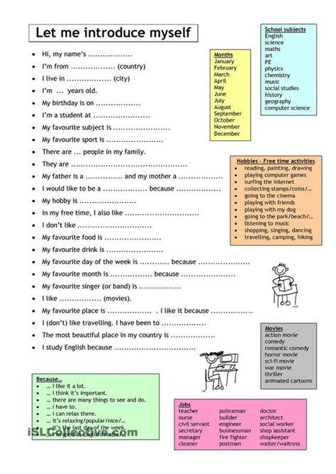 let me introduce myself worksheet free esl printable
