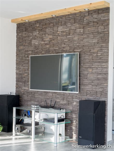 Fernseher Für Wand by Tv Wand Mit Steinverblender Ohne Sichtbare Kabel Bauen