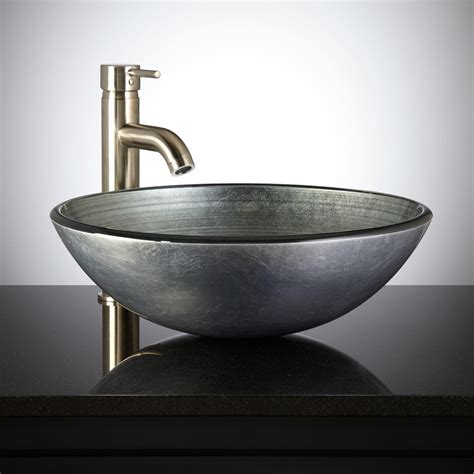 black ceramic table l bathroom vessel sinks with silver glass vessel sink