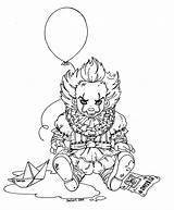 Pennywise Coloring Pages Clown Scary Baby Jadedragonne Deviantart Lineart Printable Print Halloween Character Colouring Sheets Horror Movie Getcolorings Easy Fairy sketch template