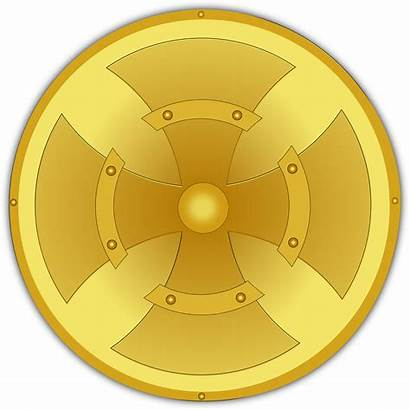 Shield Golden Gold Clip Clipart Vector Shields