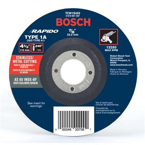 Diy Kitchen Storage Ideas - bosch 4 1 2 in thin metal cut off wheel ideal for stainless steel tcw1s450 the home depot