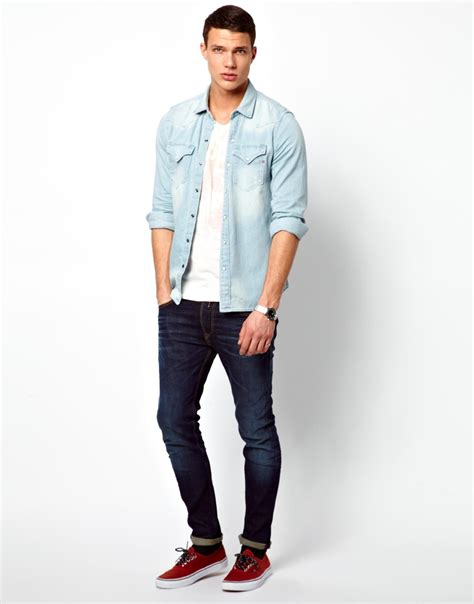 light denim shirt mens replay denim shirt light wash western in blue for lyst