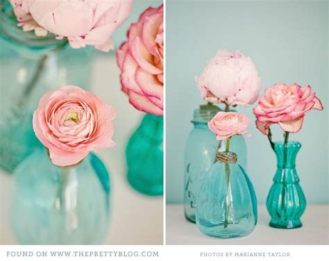 pink turquoise tea party decor inspiration glasses