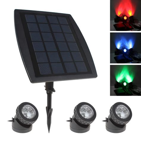 3 x rgb color led solar power light outdoor waterproof