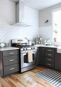 cuisine gris et bois en 50 modeles varies pour tous les gouts With cuisine avec carrelage gris