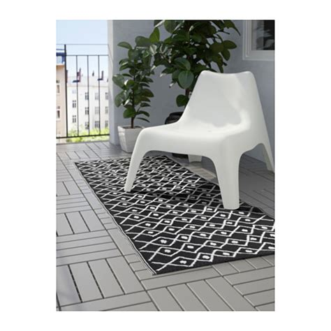 sommar 2017 rug flatwoven in outdoor black white 75x200