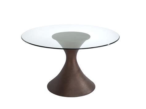 round glass dining table with round dark brown wooden base