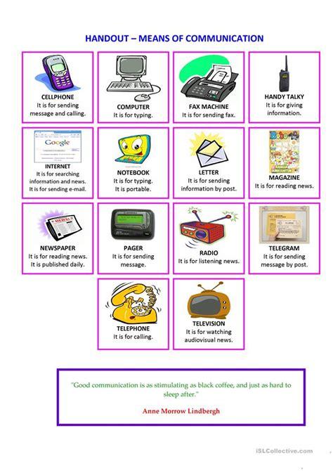 handout means  communication worksheet  esl