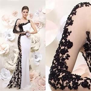 2016 White And Black Evening Dresses One Shoulder Long ...