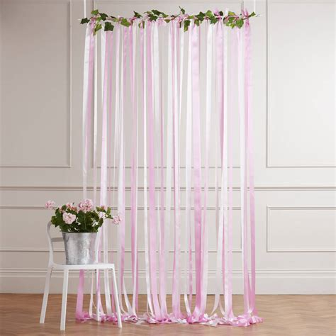 ready to hang ribbon curtain backdrop pinks by just