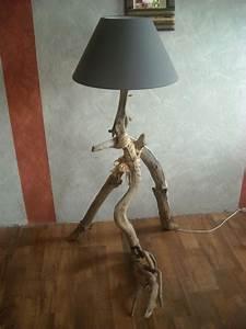 Lampe Haute Sur Pied : lampe haute sur 3 pieds bois fott cr ations lampes et guirlandes lumineuses de sanchalou n ~ Teatrodelosmanantiales.com Idées de Décoration