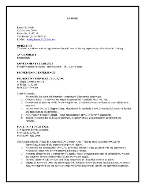 chief of security s resume