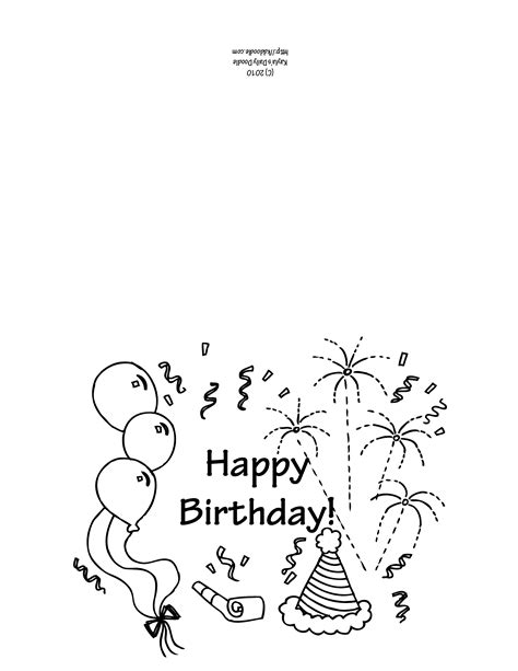 Free Coloring Cards by Birthday Greeting Card K D Doodle