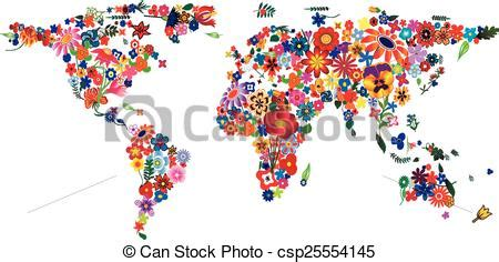 flower world map world map   plenty colourful flowers