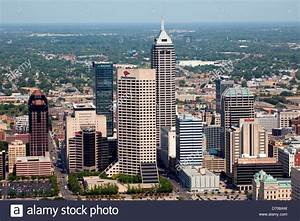 Aerial of Downtown Indianapolis, Indiana Stock Photo ...