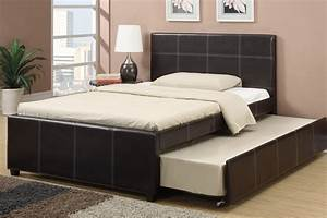 espresso faux leather full size bed with twin trundle bed