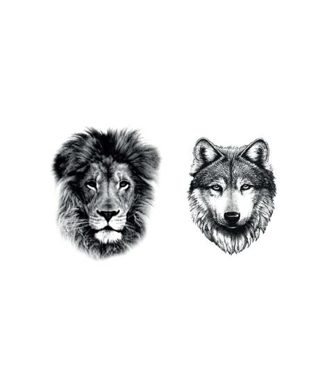 Wolf and Lion Tattoo Designs