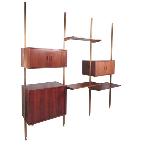 mid century wall shelf mid century modern teak omnia modular wall unit by george