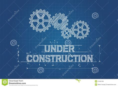 Under Construction Blueprint, Technical Drawing Royalty