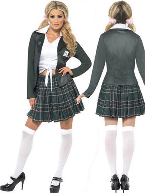 Preppy Schoolgirl Costume Ladies School Girl Fancy Dress Outfit Sizes 8-18 | eBay