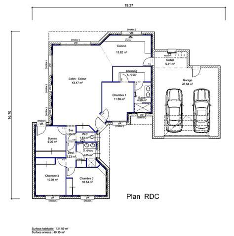 plan maison en l 4 chambres maison en quot l quot 4 chambres crea09