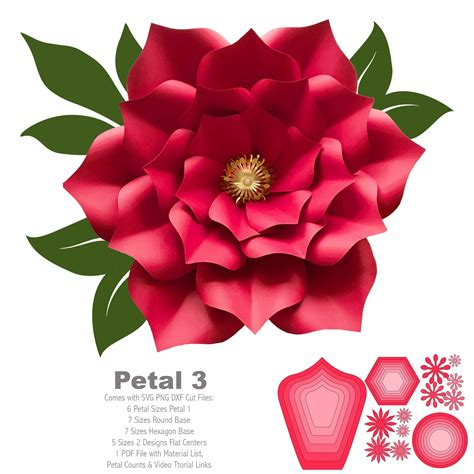 svg png dxf petal  cut files paper flowers template  cutting machine  resizing needed