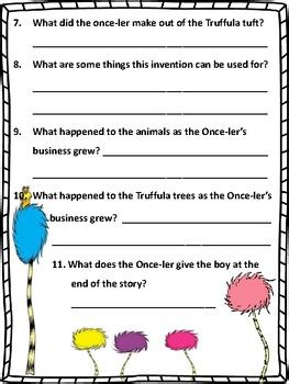 lorax comprehension questions  extension