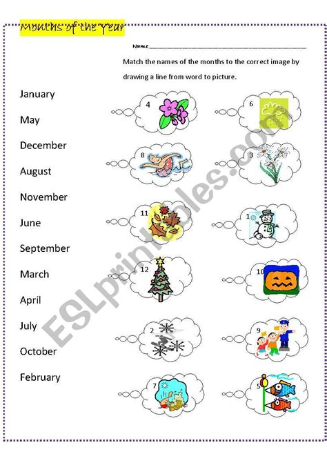 months   year matching words images esl