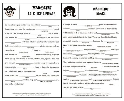 13 Best Mad Libs Printables Images On Pinterest
