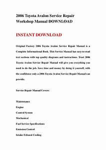 2006 Toyota Avalon Service Repair Workshop Manual Download