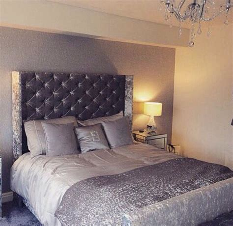 silver grey crushed velvet bedroom fabulousness
