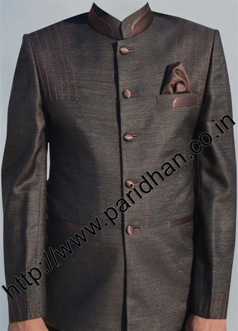 brown color wedding  button traditional nehru suitnehru