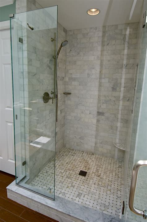 Glass Tile Bathroom Ideas by Marble Subway Tile Shower Offering The Sense Of Elegance