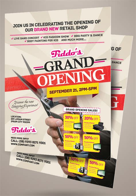 grand opening flyer templates  eps psd ai