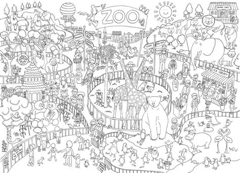 zoo colouring coloring poster giant posters scene adult really drawings colour mummy zoos adults sheets printable rainy books 70cm doodle