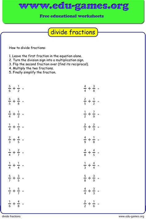 division fraction worksheets unlimited worksheets