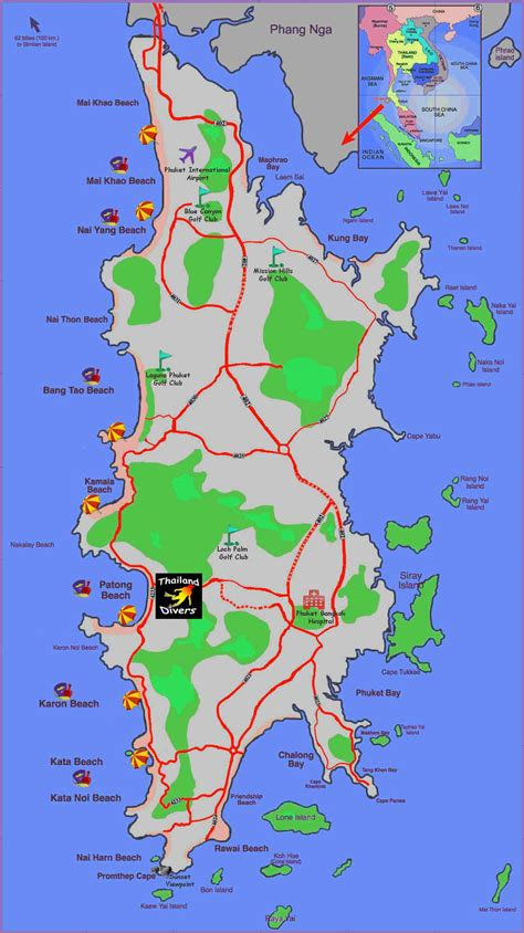 map  phuket attractions city maps